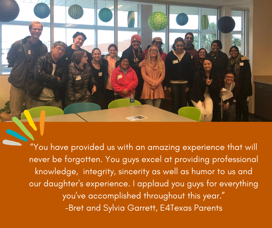 "A picture of the E4 students with the testimony from an E4 Parent underneath saying "" ""You have provided us with an amazing experience that will never be forgotten. You guys excel at providing professional knowledge, integrity, sincerity as well as humor"""