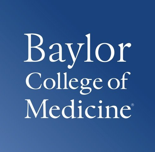 Baylor college of medicine logo with blue background and white text