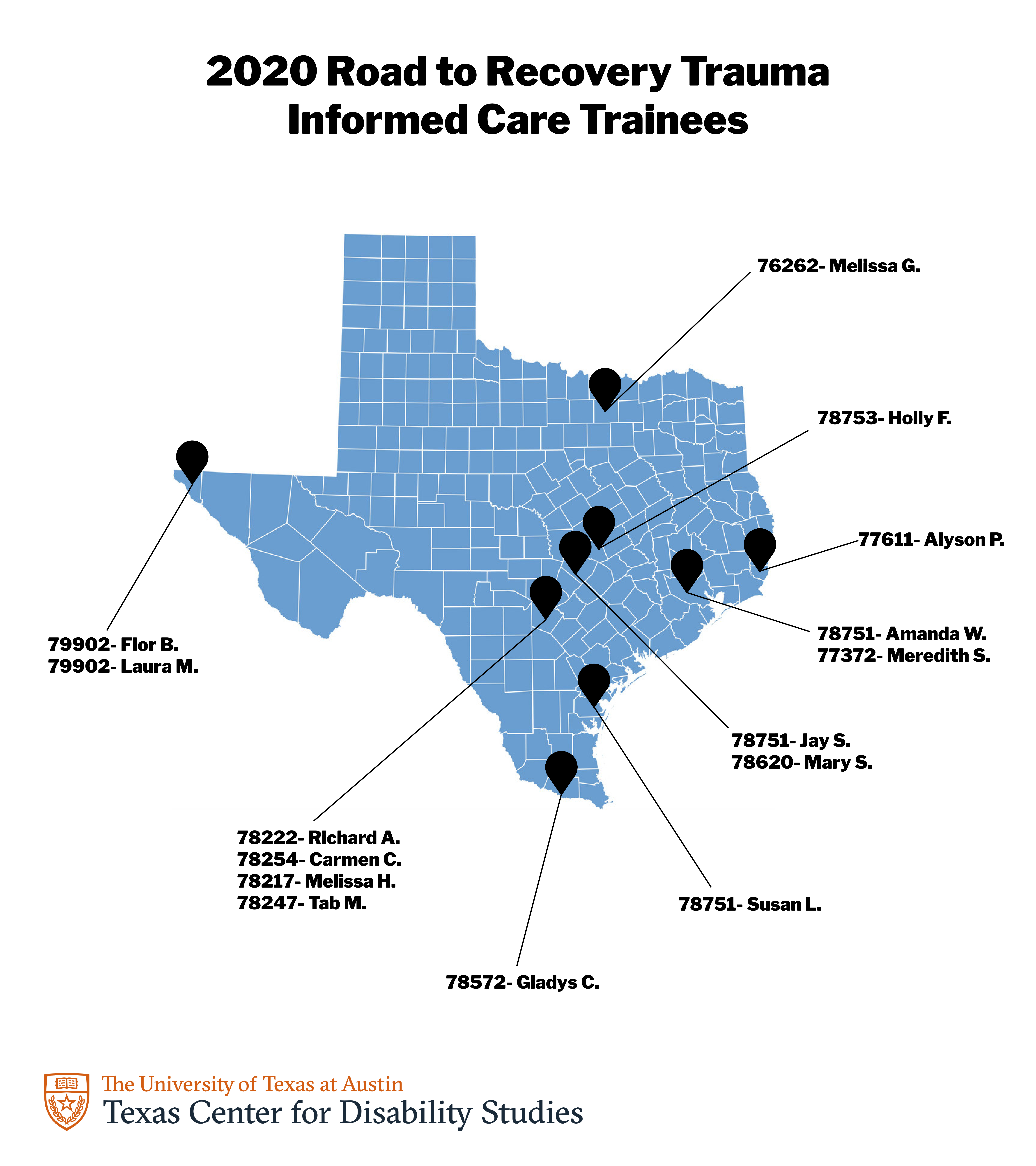 A map of Texas highlighting locations of the current Road to Recovery trainees