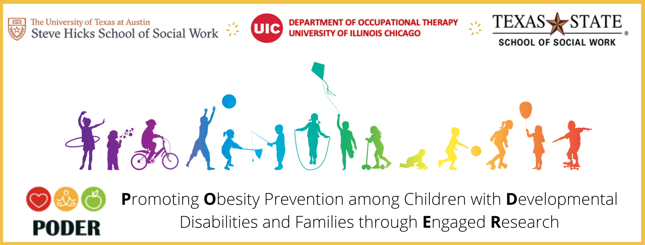 rainbow silhouettes of kids varying abilities playing in the header. Promoting Obesity Prevention among Children with Developmental Disabilities and Families Through Engaged Research headline underneath the drawings.