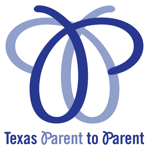 Blue Texas Parent to Parent logo resembling the shape of a butterfly